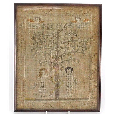 Beautiful Antique Vintage Victorian Framed Needlepoint Sampler Of Adam And Eve.