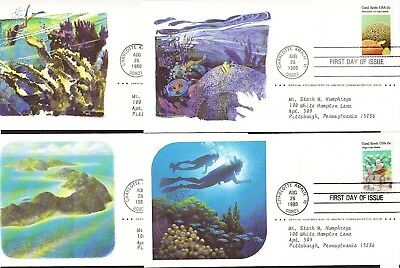 USA 1980 Corals Reefs set 4 First Day Covers
