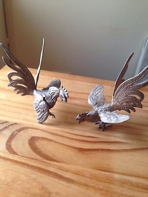 Vintage Pair Of Silver Plated French Fighting Cocks Cockerel Roosters Figurines