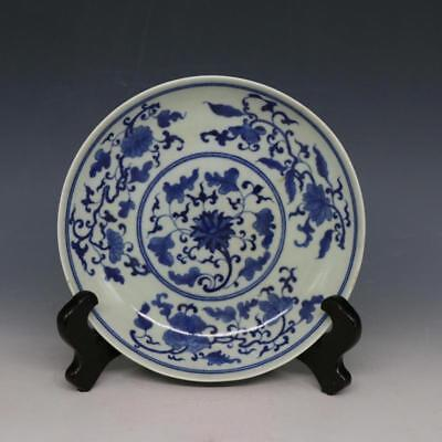 Fine Chinese Ming Dynasty Blue&White Porcelain Flowers Plants Plate