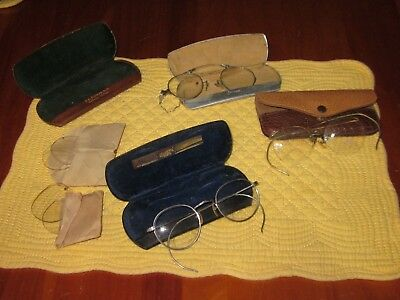 Antique Vintage Eyeglasses and Cases 4 pairs