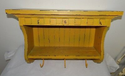 Mustard Yellow Painted Wall Hanging Wood Shelf - Primitive Antique Reproduction