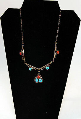 """Navajo Sterling Silver and Turquoise Pendant Necklace c.1970 19"""""""