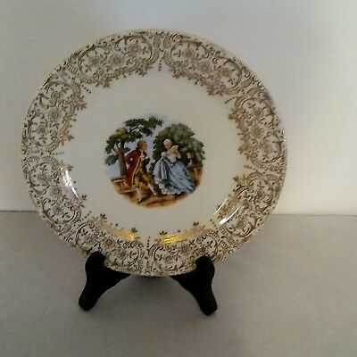 Antique Sebring Pottery China Plate Chantilly 22 Gold  Courtship Vintage