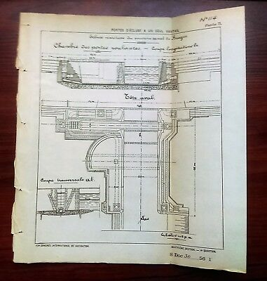 1898 French Cross Section Map Diagram Sea Port Doors for Bruges Canal