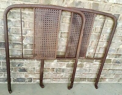 Antique Original Metal Twin Size Bed Headboard Rustic Weave Cane Hatch Farmhouse