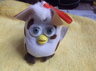 White and Brown 2000 Furby 3 1/2 inch tall