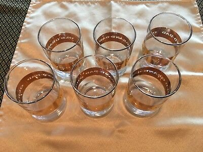 Set of 6 Vtg Old Grand Dad Cocktail Glasses Tumblers Gold Stripe Mid Century/WOW