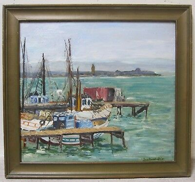 JEAN ABENDROTH Listed Early CA Oil San Diego Seascape Harbor Boat Signed 1930s