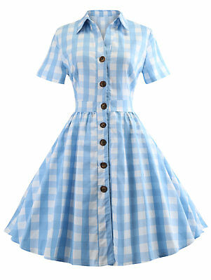 c1da49f143e Women s Shirt Collar Short Sleeve Plaid Vintage Waist Elastic Button Up  Dress D3