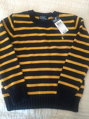 Ralph Lauren Polo Boys Cotton Sweater 6 Navy Gold Stripe NWT $65 Fall Perfect