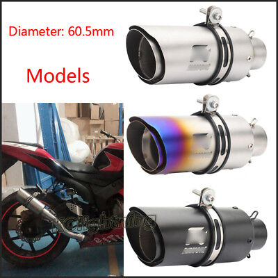 250mm Universal Motorcycle ATV Exhaust Muffler Pipe Slip-on Tail Tube 38~60.5mm