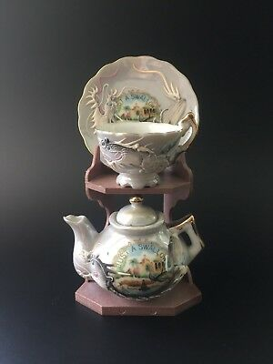 Vintage Moriage Dragon Ware Hand Painted Miniature Tea Sets w/ Display Stand