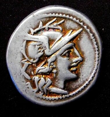 Roman Republican Denarius ca. 179-170 BC. Ancient Silver Coin.