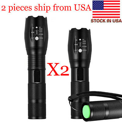 2pcs Set! 5 Modes Zoomable 18650/AAA LED Tactical Flashlight Portable LED Torch