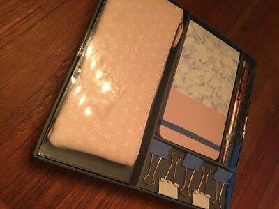 2018 Fringe Studio - Blush Marble Pencil Pouch, Binder Clips, Pen, Notepad