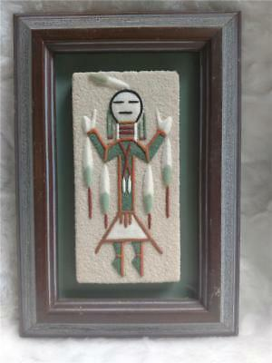 Vintage Night Chant of a Mountain God Native American Sand Art Framed - Mexico