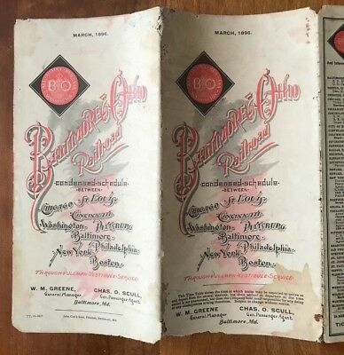 Rare Antique Baltimore Ohio Railroad Time Table  Fold Out Map March 1896  B&o