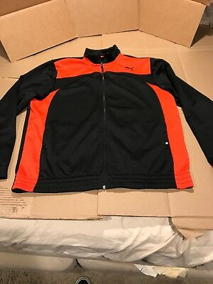5b8e24920514 Puma Mens Track Jacket Warm Up Full Zip Sport Lifestyle Black   Red Size -  XL