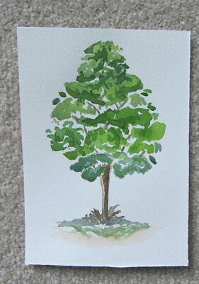 WATERCOLOUR card PIECE regal TREE hand PAINTED greens ART hobby DIY craft brown