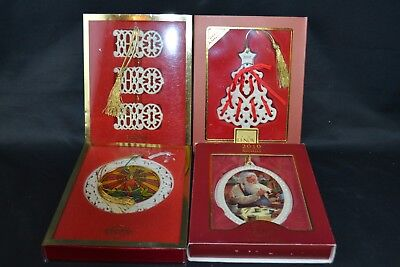 Lenox Set of 4 Ornaments 2010 Santa In the Workshop Stained Glass