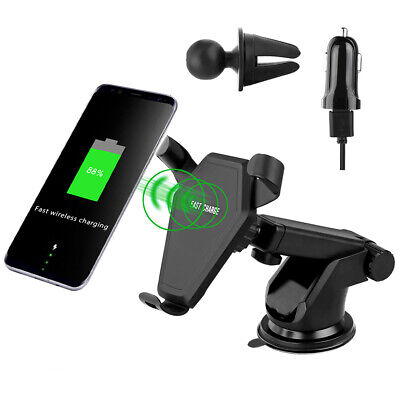 USA Qi Car Fast Wireless Charger Cell Phone Mount Holder For iPhone X XR XS Max