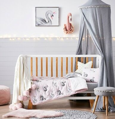Adairs Kids Odette Swan Cot Coverlet and Pillowcase SET Pink Lilac - BRAND NEW