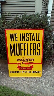Stout Sign Co Walker Mufflers NOS Embossed 1950s Original