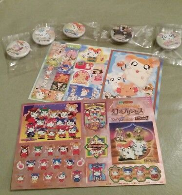 Brand New Vintage Japan Hamtaro hamster Movie Promo Stickers & Metal Badges Lot