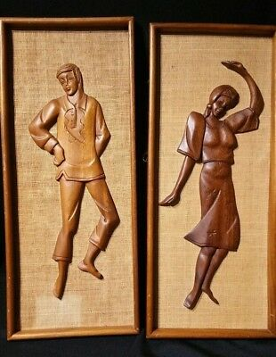 Pair of Vintage Mid Century Framed Carved Wood Wall Art (Man and a Woman)