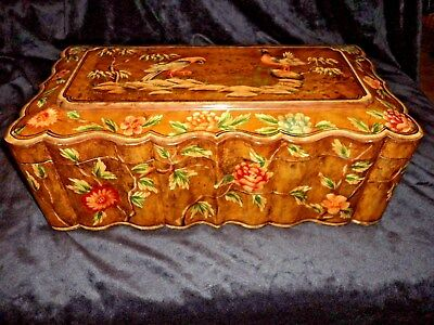 CASTILIAN IMPORTS ORNATE PAINTED LARGE 9x18 INCH ORIENTAL STYLE WOODEN BOX EUC