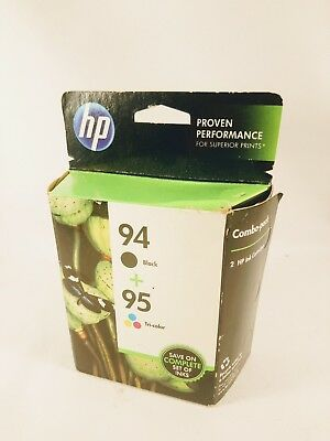 Genuine HP 94 95 Ink Cartridges Black Tri-Color Combo Pack NEW Sealed Expired