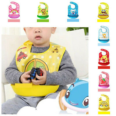 Baby Bib Waterproof Premium Comfortable Soft Silicone Easily Wipes Clean Feeding