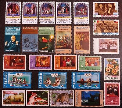 Nicaragua Stamp Collection Of 26 Different Mint Stamps All Unhinged