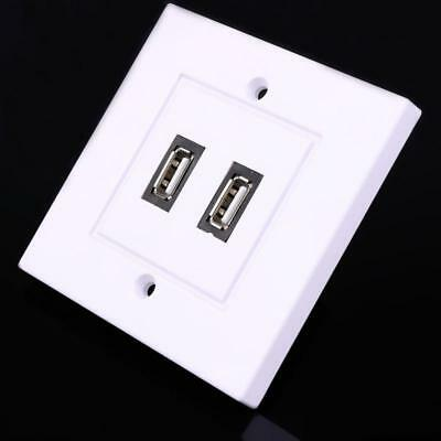 Doble USB 2.0 Cuadrado Panel de Pared Enchufe Placa Frontal Blanco ABS para