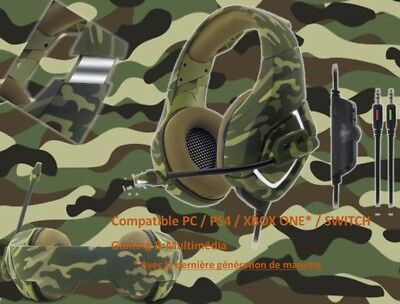 Casque Camouflage Army Pc Ps4 Switch Xbox One Stéréo Gamer Micro Spirit Of Gamer