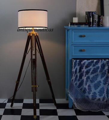 Nautical Wooden Tripod Brown Stand Beautiful Floor Lamp Home Decor Shade Lamp