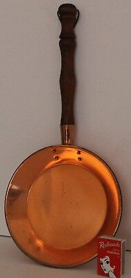 Copper Skillet Frypan Cookware Display Wooden Handle Solid Vintage Retro