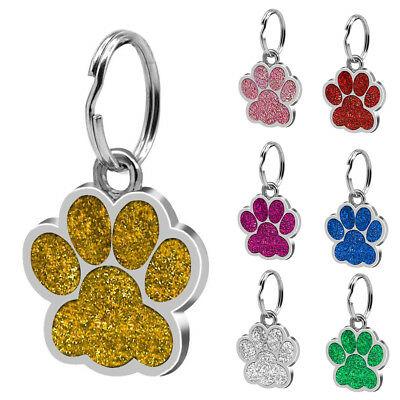 Glitter Paw Print Pet ID Tags Custom Engraved Puppy Dog Cat Tag Personalized Sig