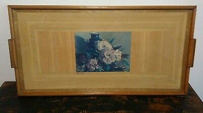 Floral rectangular painted picture wooden tray Free Postage