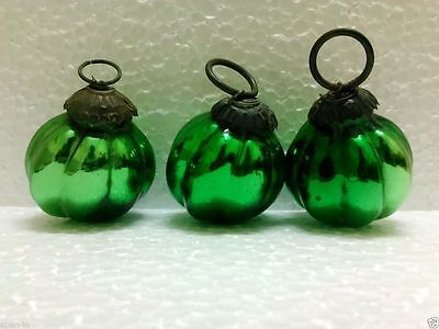 Vintage Old Glass 2.5'' Green Kugel / Christmas Ornament Collectible Home Decor