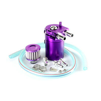 Cylinder Aluminum Engine Oil Catch Reservoir Breather Tank Can w/ Filter Purple