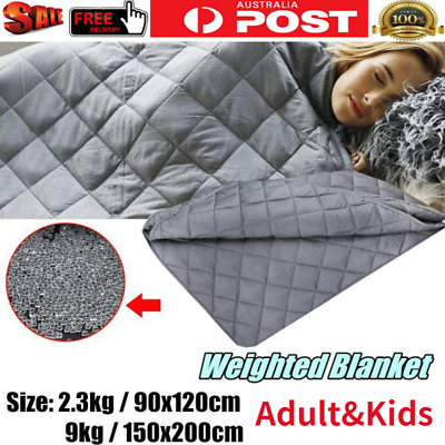 2Size Grey Weighted Gravity Cotton Blanket Therapy Stress Autism Anxiety 2.3/9kg