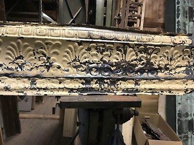 "Antique Tin Ceiling Trim Panel. 40"" X14"" Approx. Nice Chippy Paint."