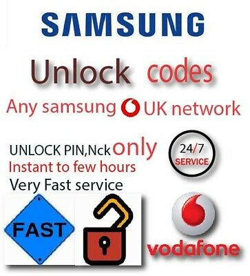 Vodafone UK Unlocking Samsung Galaxy S3 S4 S5 S5 NEO S6 S7 EDGE Unlock Code