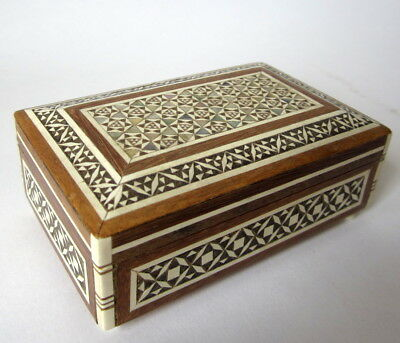 Vintage Middle Eastern Trinket Jewelry Box Mosaic Mother of Pearl Cream & Black