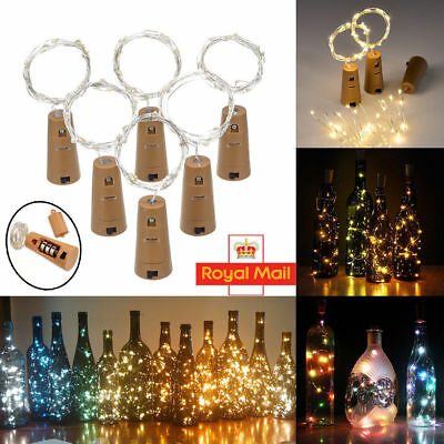 20X 2M 20 LED String Light Battery Operated Copper Wine Bottle Fairy Lamp Party