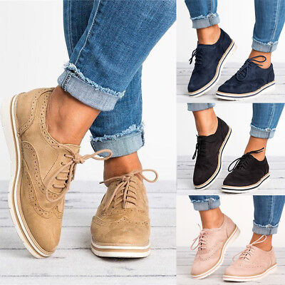 Womens Vintage Flat Shoes Ladies Lace Up Casual Smart Office Shoes