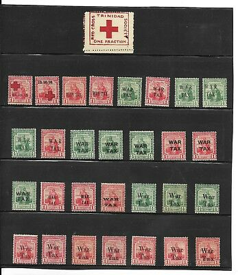 Trinidad And Tobago. 1914-18 Red Cross And War Tax Stamps Mint Selection. (12)