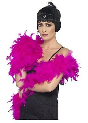 20's Deluxe Fuchsia Pink Feather Boa 80g Flapper Costume Fancy Dress Smiffys